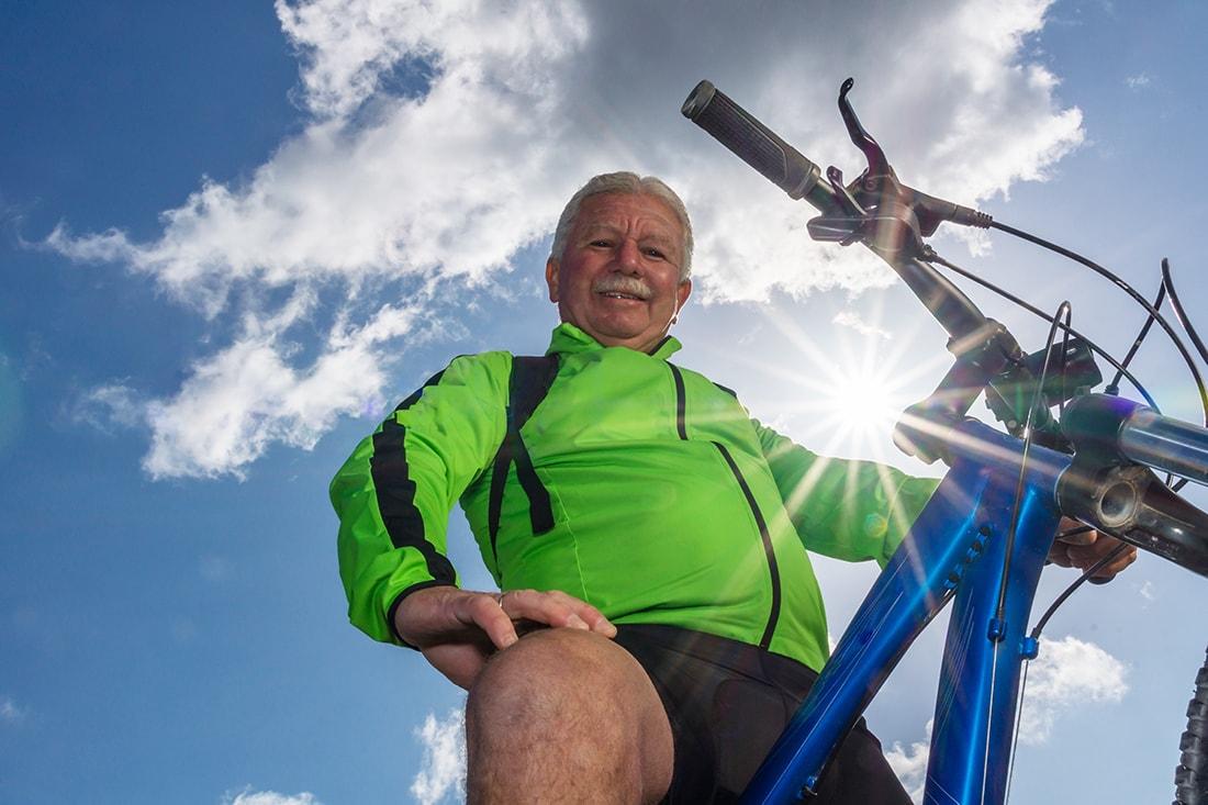 Portraitfoto mit Fahrrad
