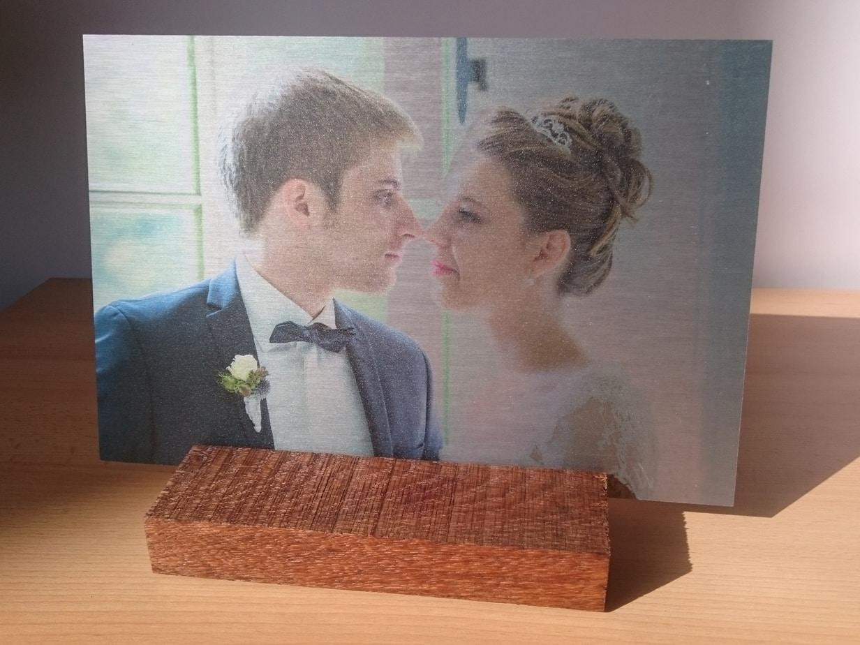 Foto auf Aluminium kombiniert mit Holz